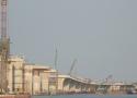 Toàn cảnh cầu Cửa Hội đang xây dựng nối Nghệ An - Hà Tĩnh